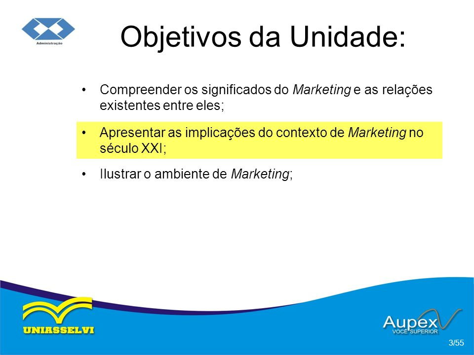 Objetivos da Unidade: Compreender os significados do Marketing e as relações existentes entre eles;