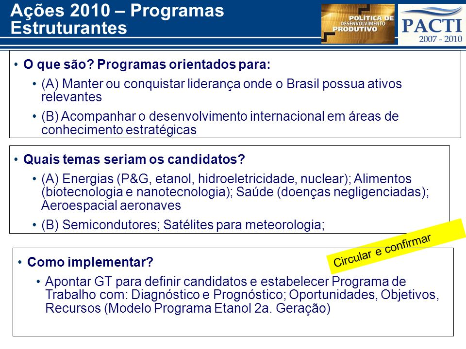 Ações 2010 – Programas Estruturantes