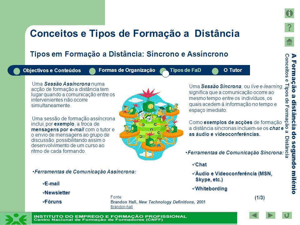 Conceitos e Tipos de Formação a Distância Tipos em Formação a Distância: Síncrono e Assíncrono