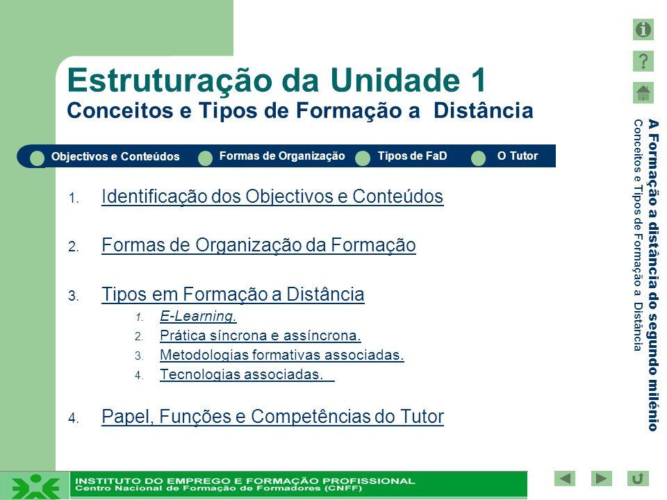 Estruturação da Unidade 1 Conceitos e Tipos de Formação a Distância