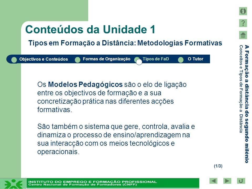 Conteúdos da Unidade 1 Tipos em Formação a Distância: Metodologias Formativas