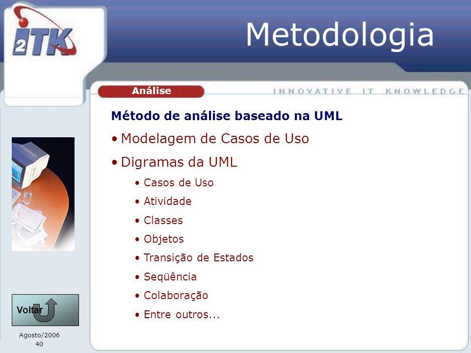 Metodologia Modelagem de Casos de Uso Digramas da UML