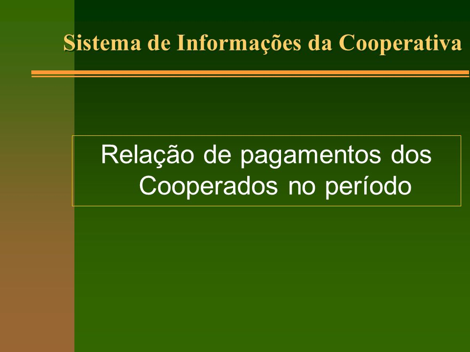 Relação de pagamentos dos Cooperados no período