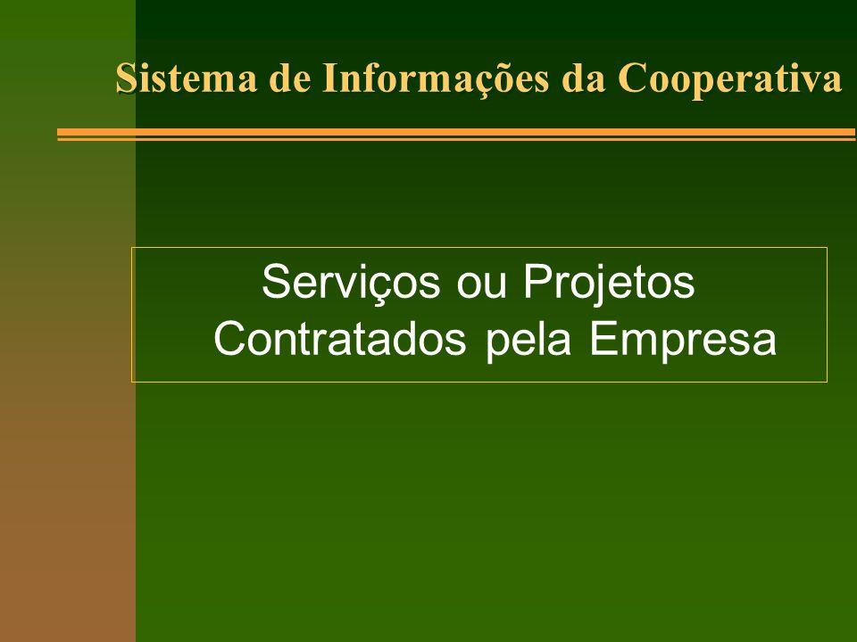 Serviços ou Projetos Contratados pela Empresa