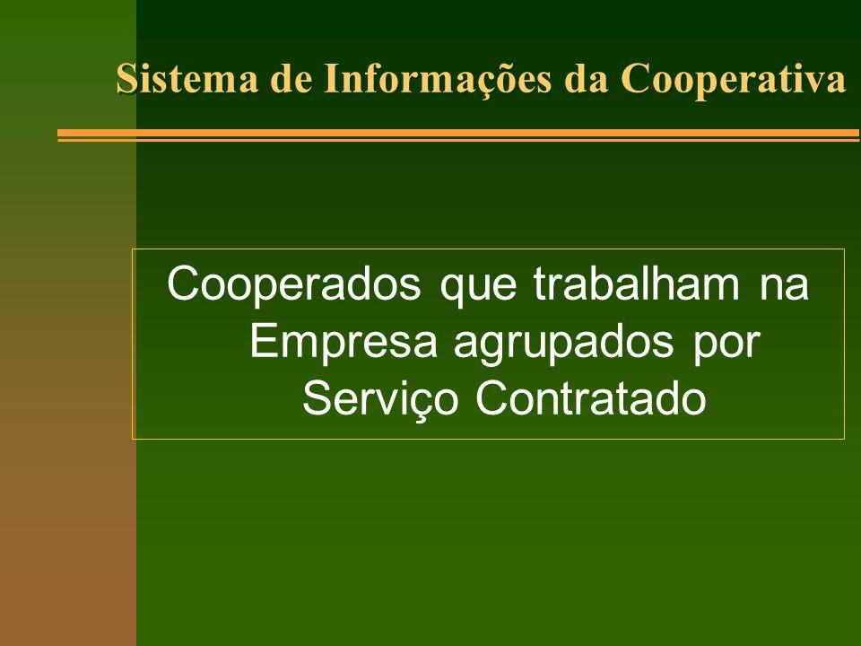 Cooperados que trabalham na Empresa agrupados por Serviço Contratado