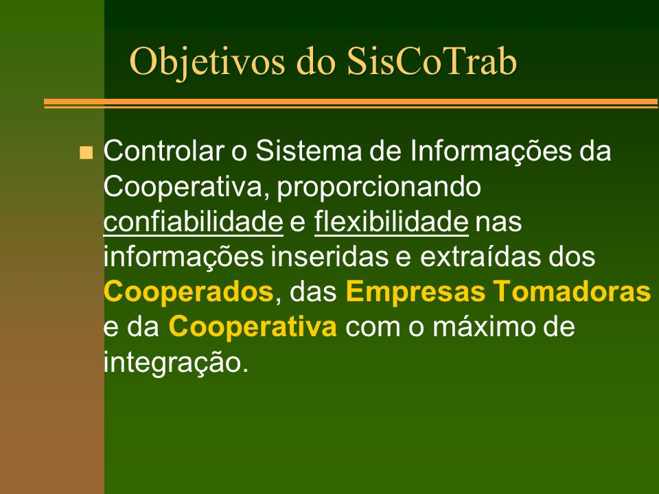Objetivos do SisCoTrab
