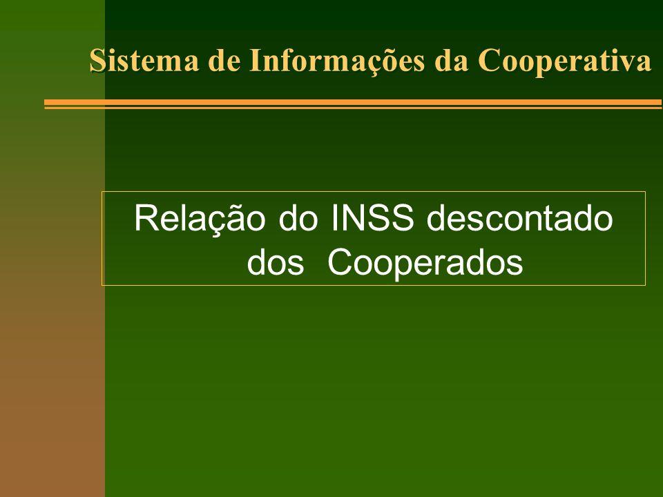 Relação do INSS descontado dos Cooperados