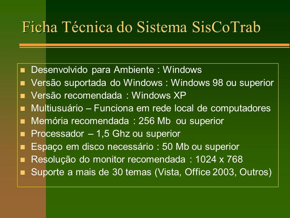 Ficha Técnica do Sistema SisCoTrab
