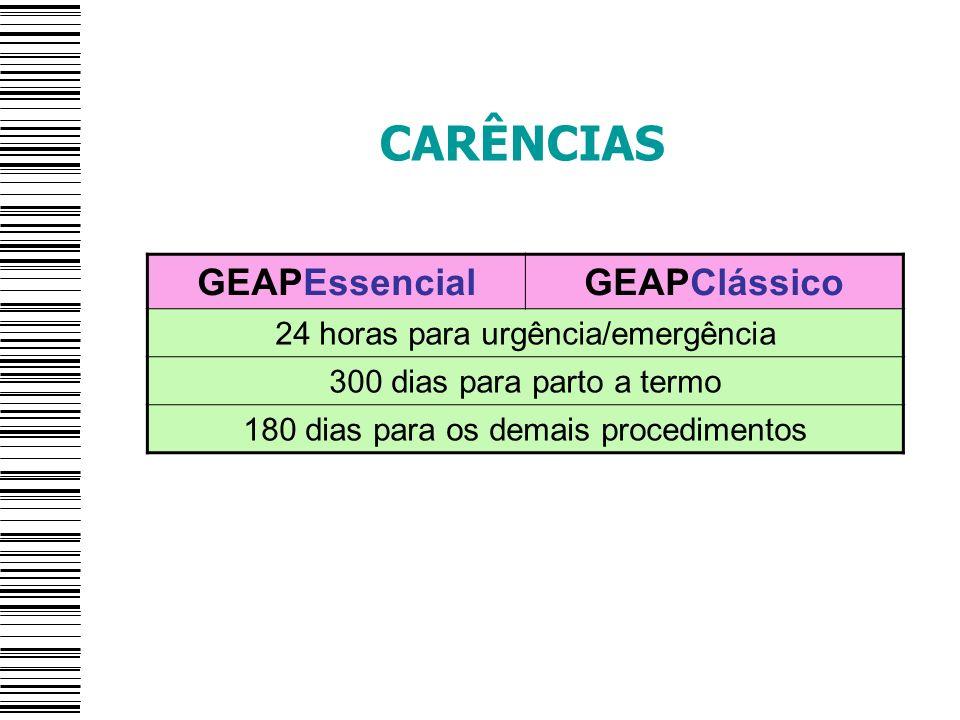 CARÊNCIAS GEAPEssencial GEAPClássico 24 horas para urgência/emergência