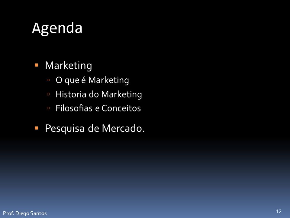 Agenda Marketing Pesquisa de Mercado. O que é Marketing