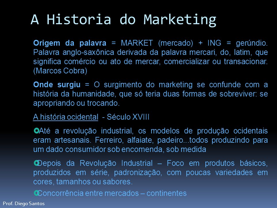 A Historia do Marketing