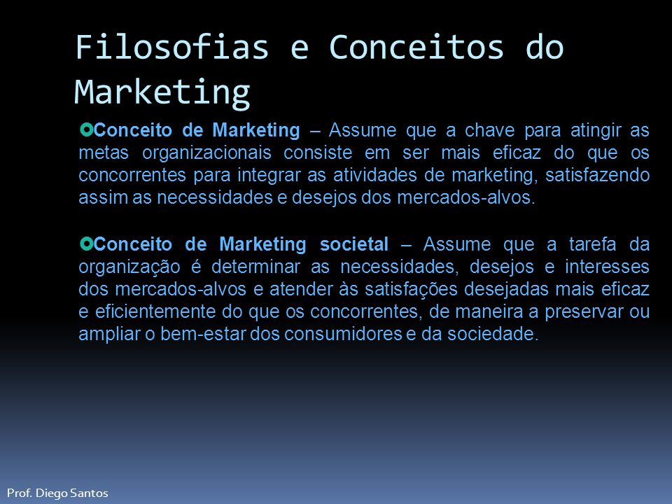 Filosofias e Conceitos do Marketing