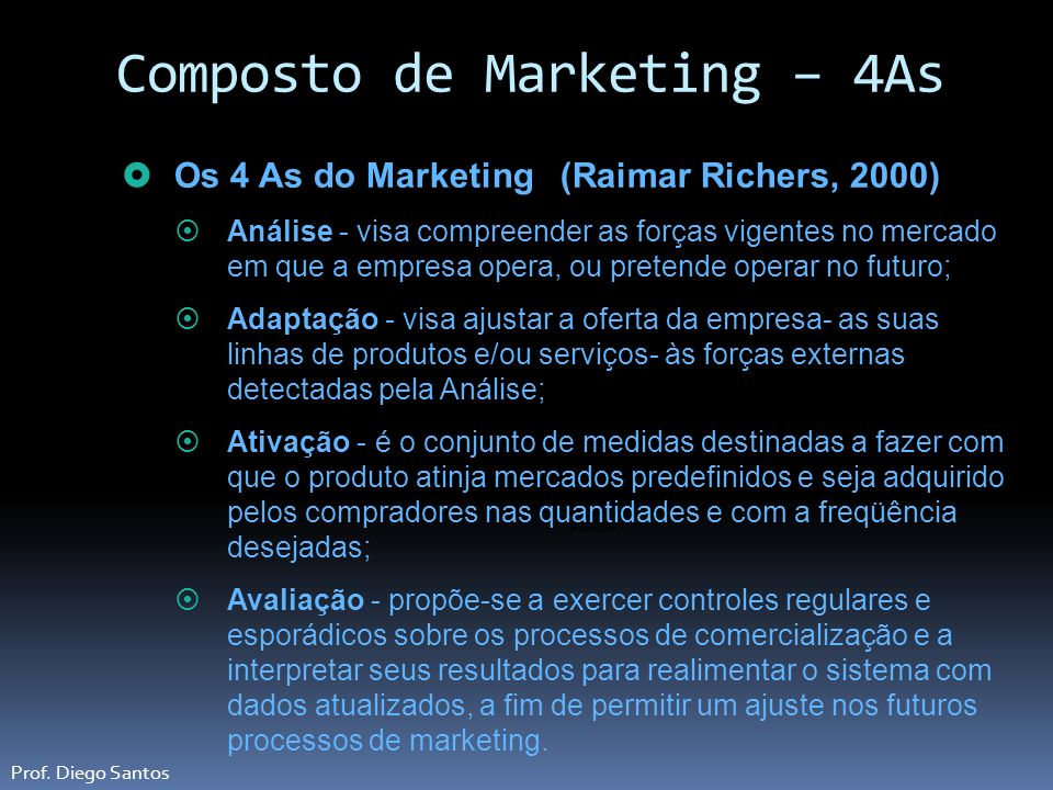 Composto de Marketing – 4As