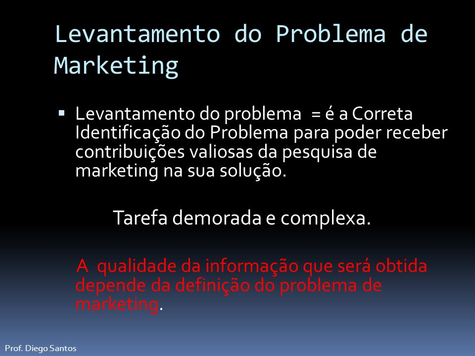 Levantamento do Problema de Marketing