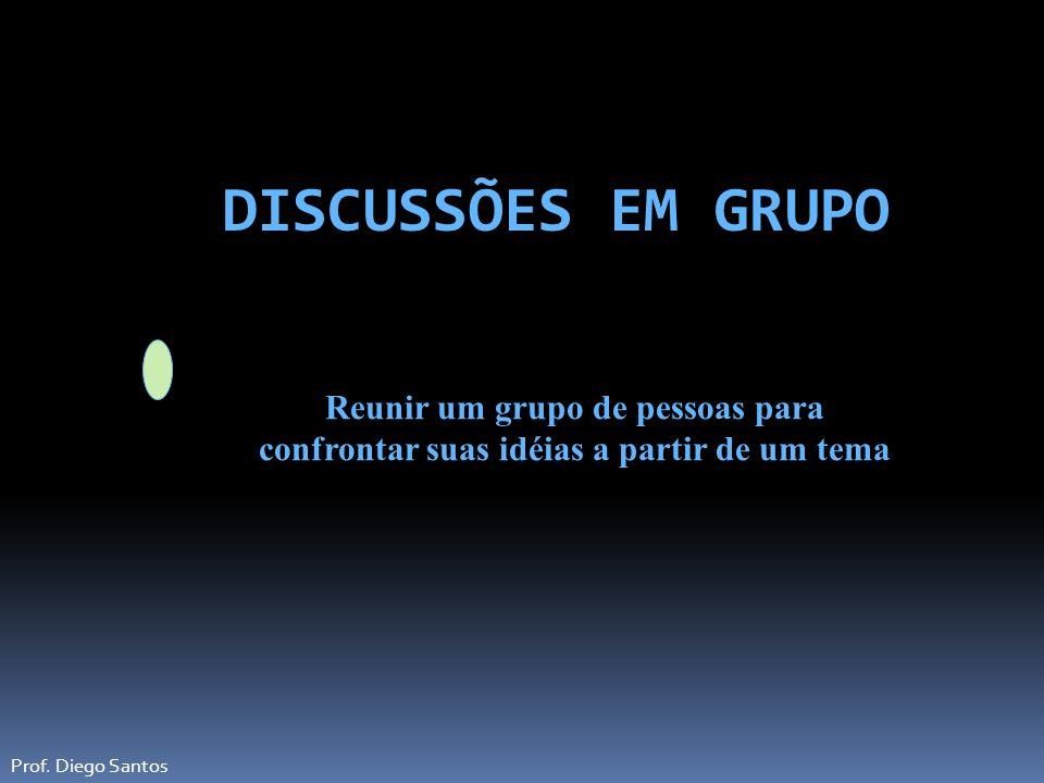 DISCUSSÕES EM GRUPO Reunir um grupo de pessoas para confrontar suas idéias a partir de um tema.
