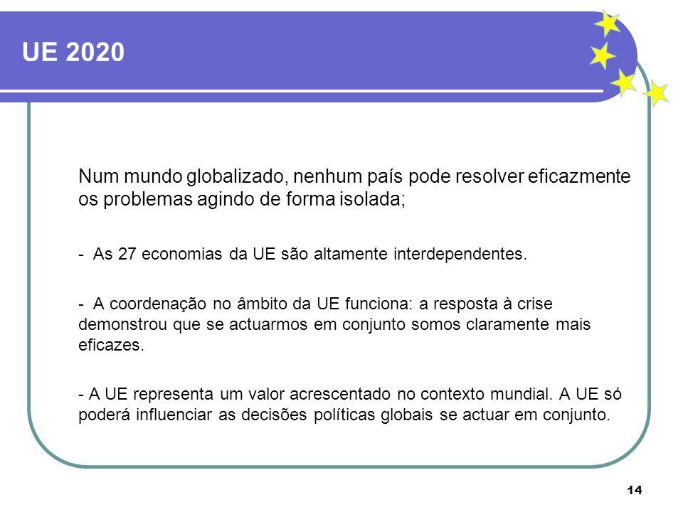 UE 2020 Num mundo globalizado, nenhum país pode resolver eficazmente os problemas agindo de forma isolada;