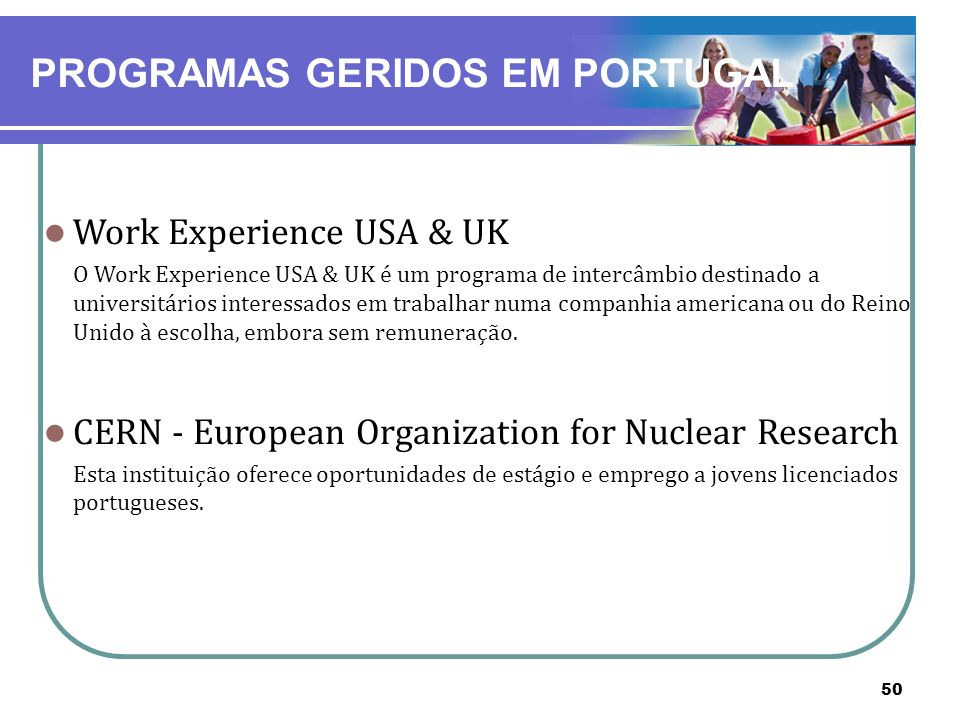 PROGRAMAS GERIDOS EM PORTUGAL