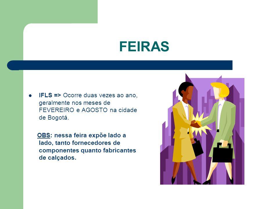 FEIRAS IFLS => Ocorre duas vezes ao ano, geralmente nos meses de FEVEREIRO e AGOSTO na cidade de Bogotá.