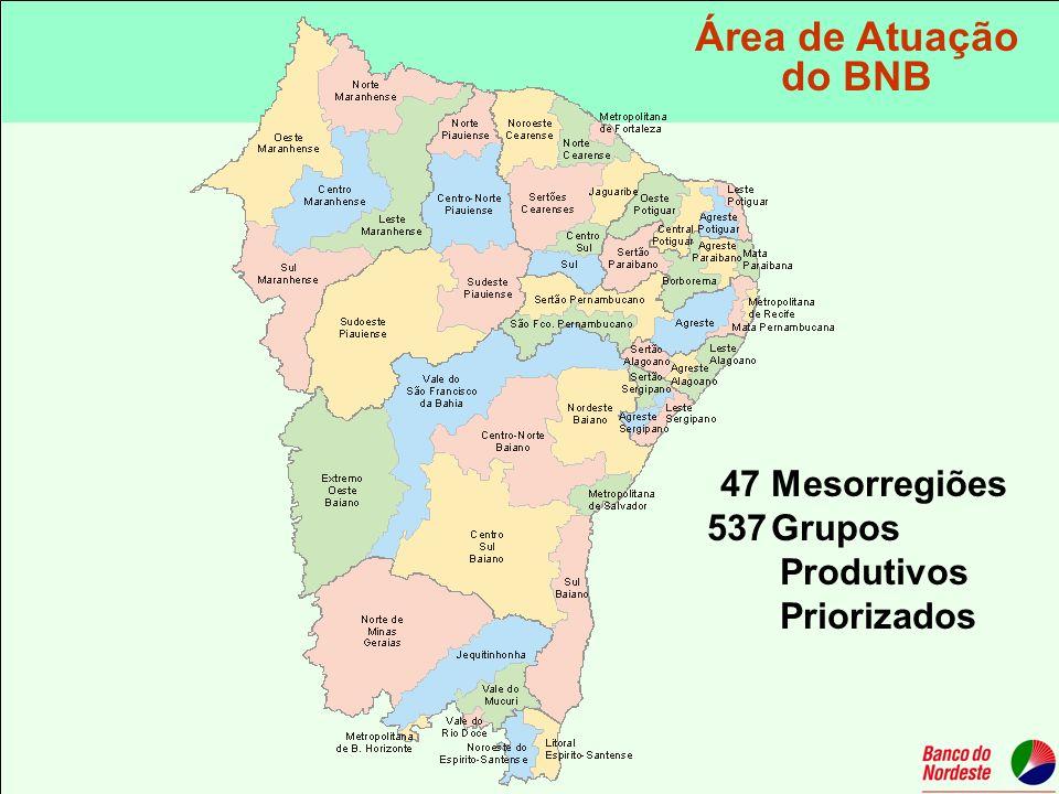 Área de Atuação do BNB 47 Mesorregiões Grupos Produtivos Priorizados