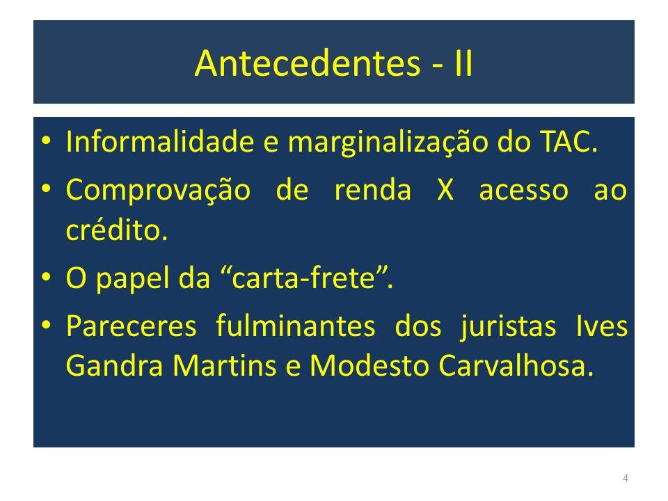 Antecedentes - II Informalidade e marginalização do TAC.