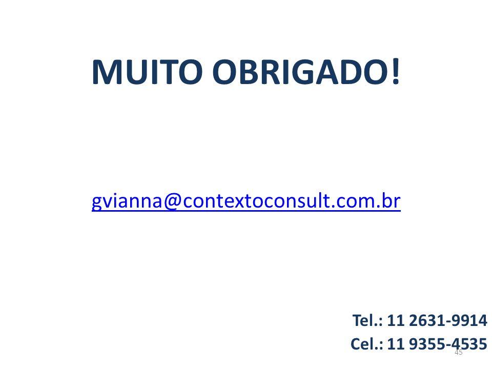 MUITO OBRIGADO! gvianna@contextoconsult.com.br Tel.: 11 2631-9914
