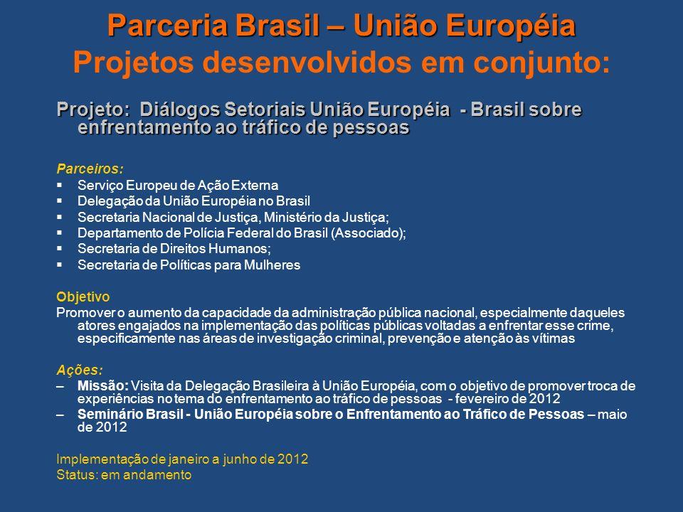 Parceria Brasil – União Européia Projetos desenvolvidos em conjunto: