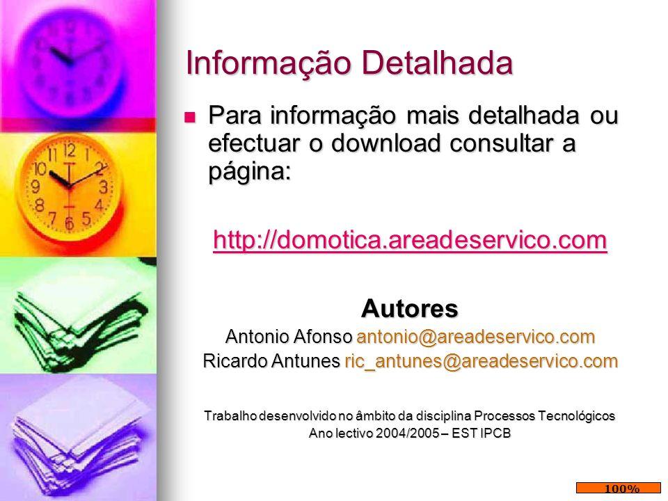 Informação Detalhada Para informação mais detalhada ou efectuar o download consultar a página: http://domotica.areadeservico.com.