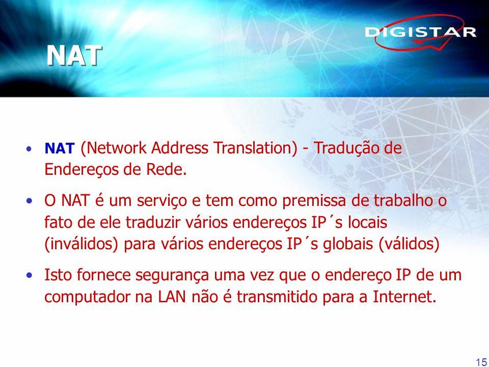 NAT NAT (Network Address Translation) - Tradução de Endereços de Rede.