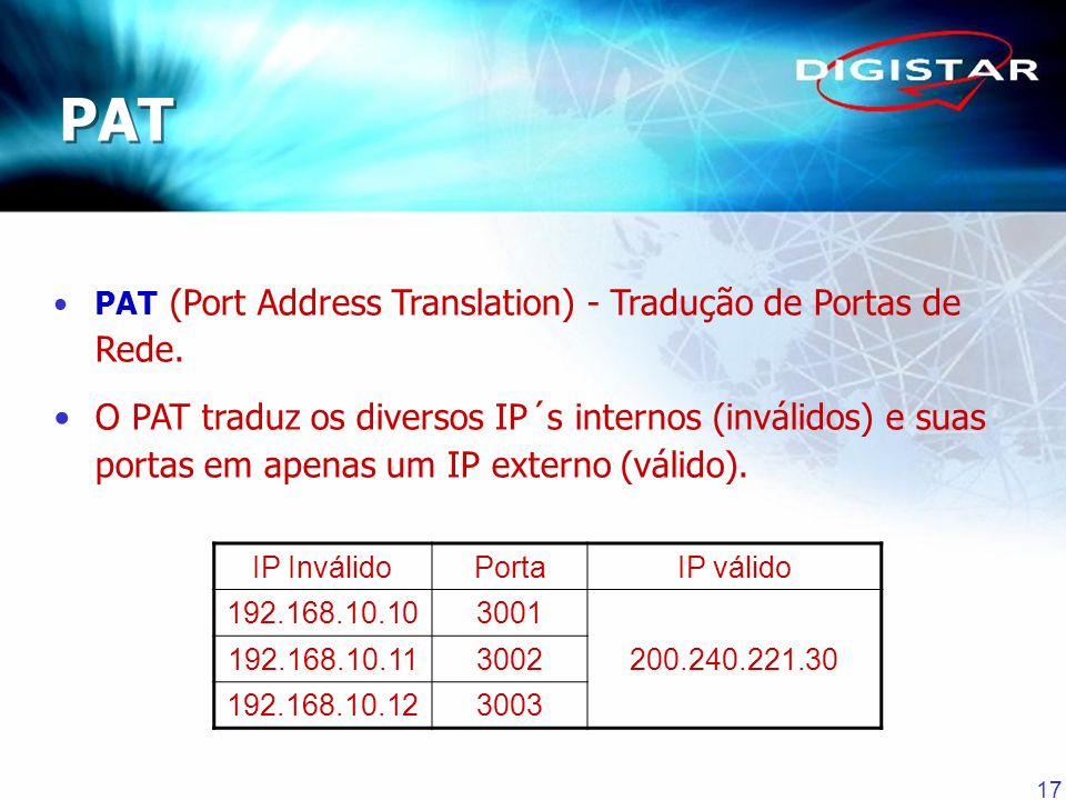 PAT PAT (Port Address Translation) - Tradução de Portas de Rede.