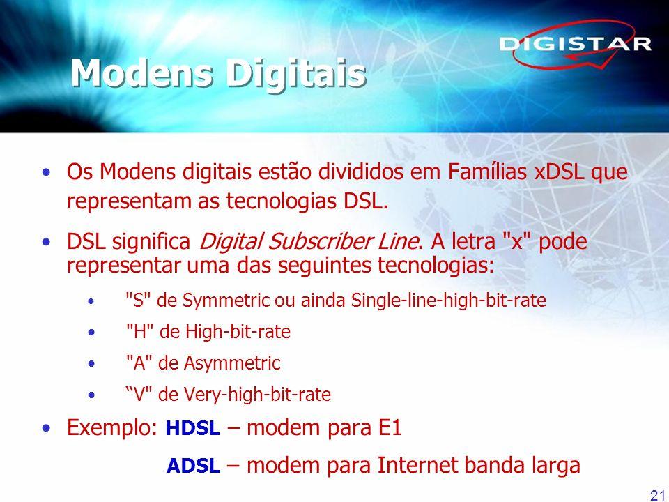 Modens Digitais Os Modens digitais estão divididos em Famílias xDSL que representam as tecnologias DSL.