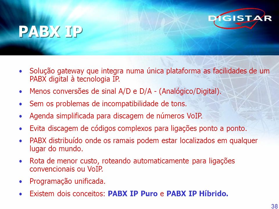 PABX IP Solução gateway que integra numa única plataforma as facilidades de um PABX digital à tecnologia IP.