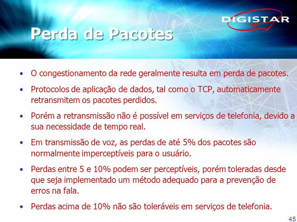 Perda de Pacotes O congestionamento da rede geralmente resulta em perda de pacotes.