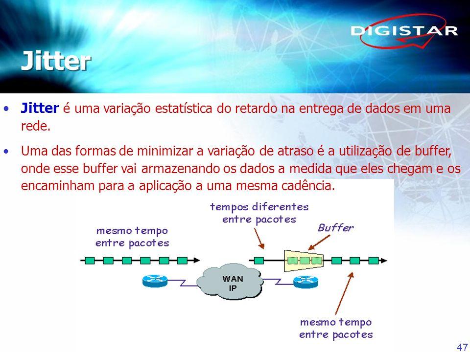 Jitter Jitter é uma variação estatística do retardo na entrega de dados em uma rede.