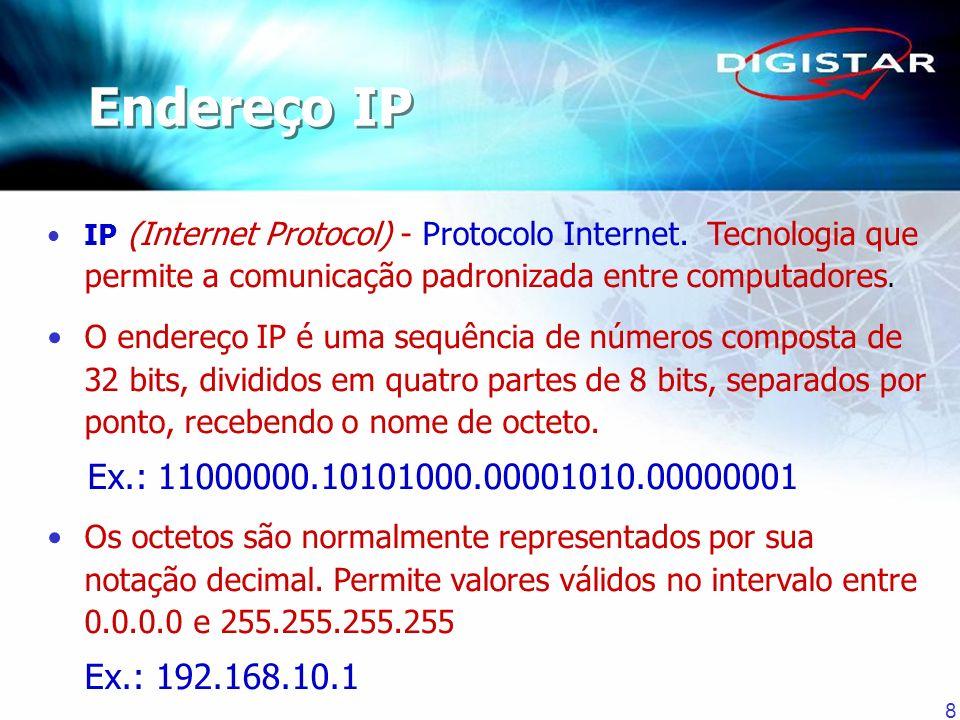 Endereço IP IP (Internet Protocol) - Protocolo Internet. Tecnologia que permite a comunicação padronizada entre computadores.