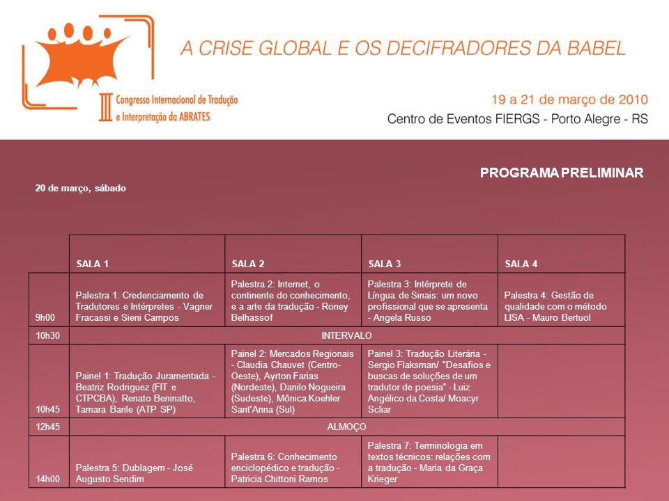 PROGRAMA PRELIMINAR 20 de março, sábado SALA 1 SALA 2 SALA 3 SALA 4