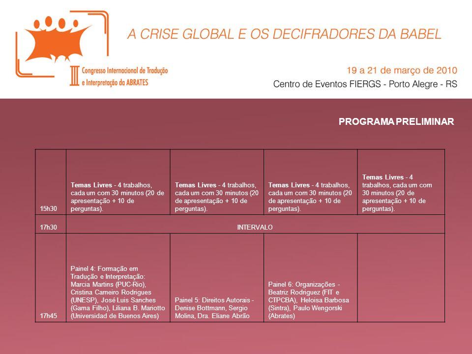 PROGRAMA PRELIMINAR 15h30. Temas Livres - 4 trabalhos, cada um com 30 minutos (20 de apresentação + 10 de perguntas).