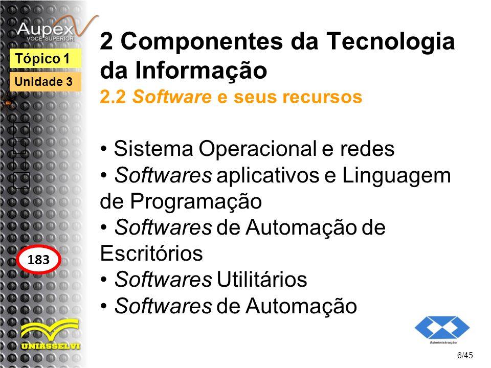 2 Componentes da Tecnologia da Informação 2.2 Software e seus recursos