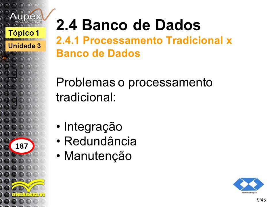 2.4 Banco de Dados 2.4.1 Processamento Tradicional x Banco de Dados