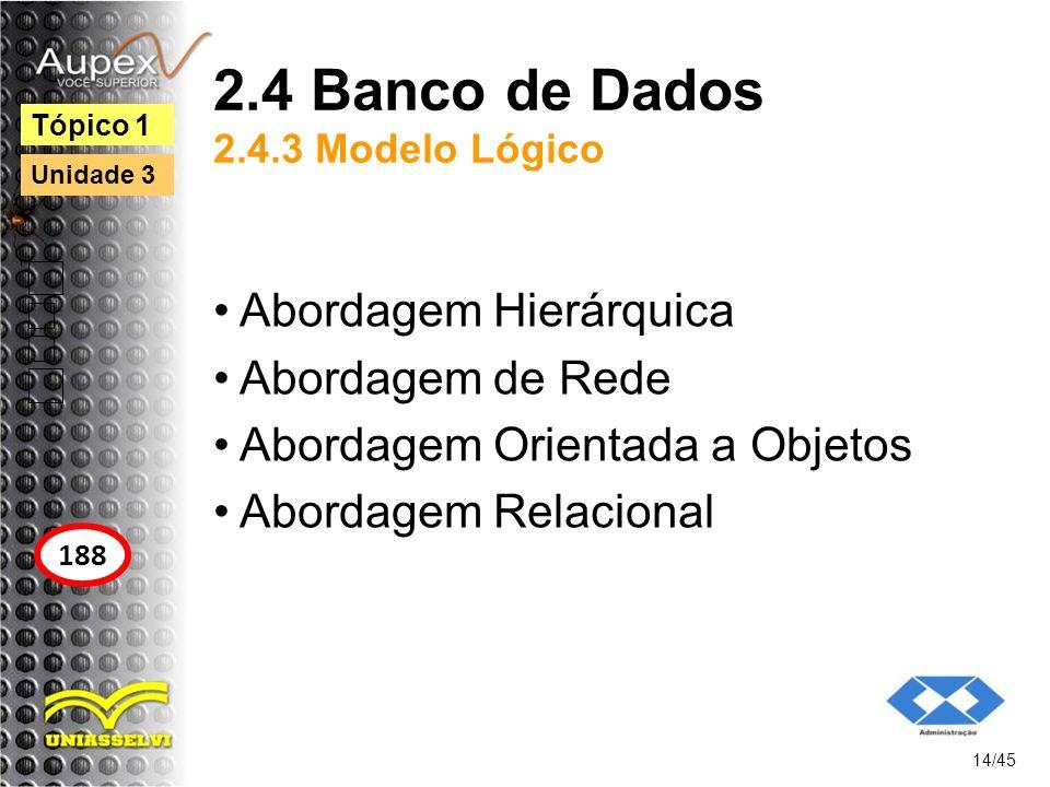 2.4 Banco de Dados 2.4.3 Modelo Lógico