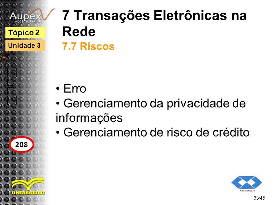 7 Transações Eletrônicas na Rede 7.7 Riscos