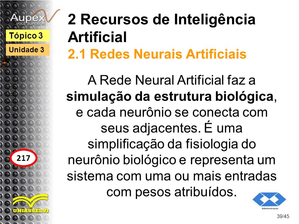 2 Recursos de Inteligência Artificial 2.1 Redes Neurais Artificiais
