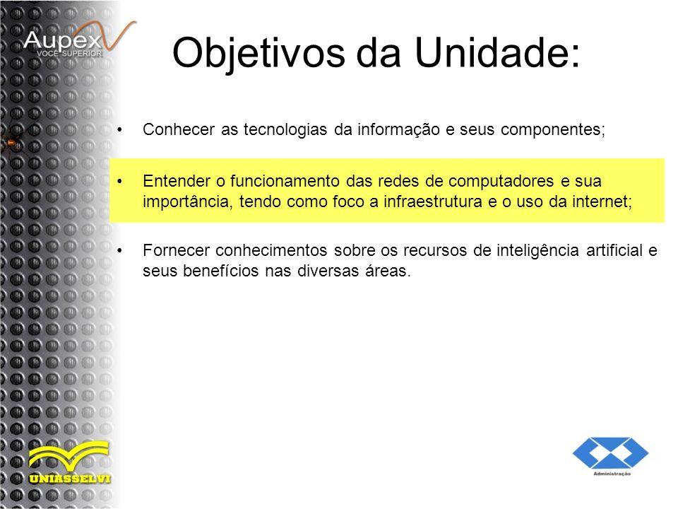 Objetivos da Unidade: Conhecer as tecnologias da informação e seus componentes;