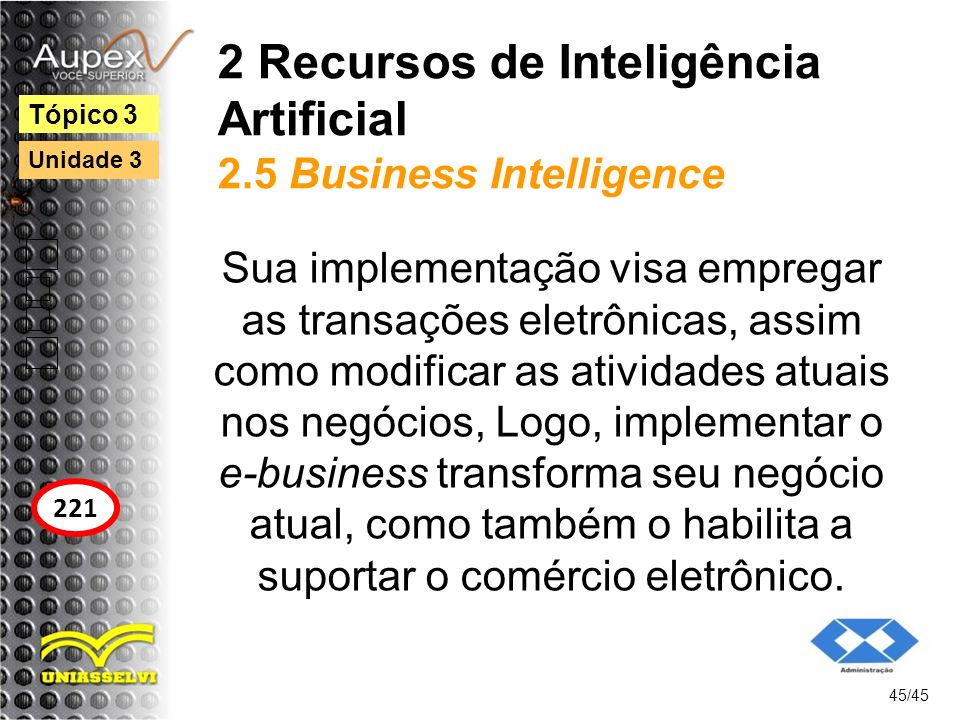 2 Recursos de Inteligência Artificial 2.5 Business Intelligence