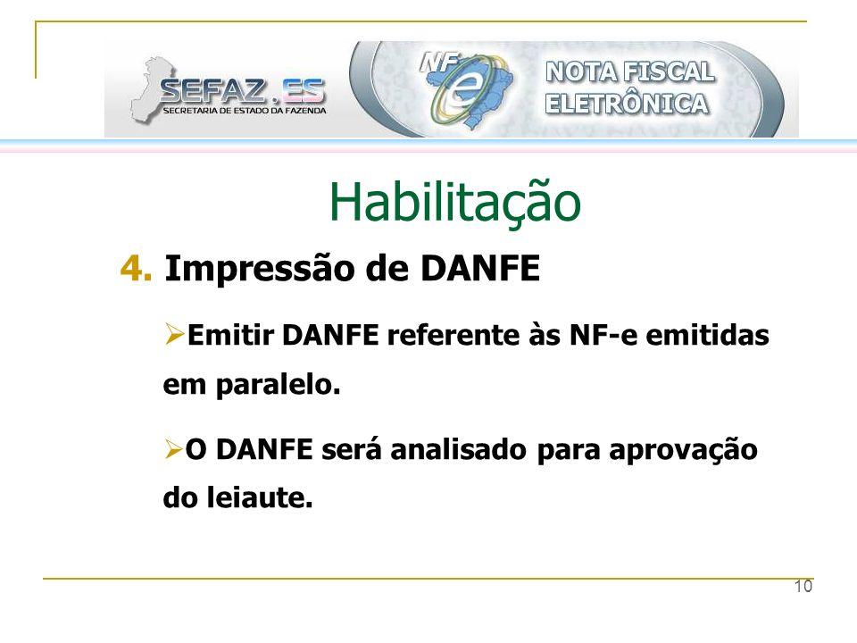 Habilitação 4. Impressão de DANFE