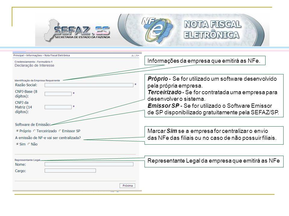 Informações da empresa que emitirá as NFe.