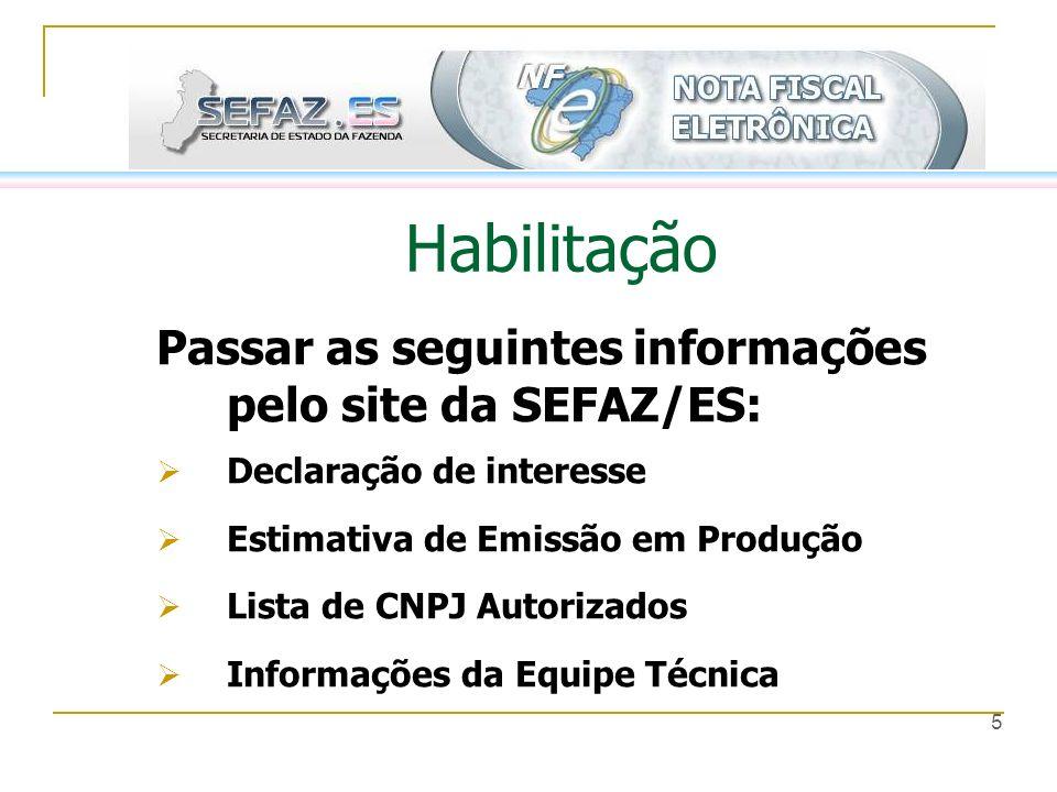 Habilitação Passar as seguintes informações pelo site da SEFAZ/ES: