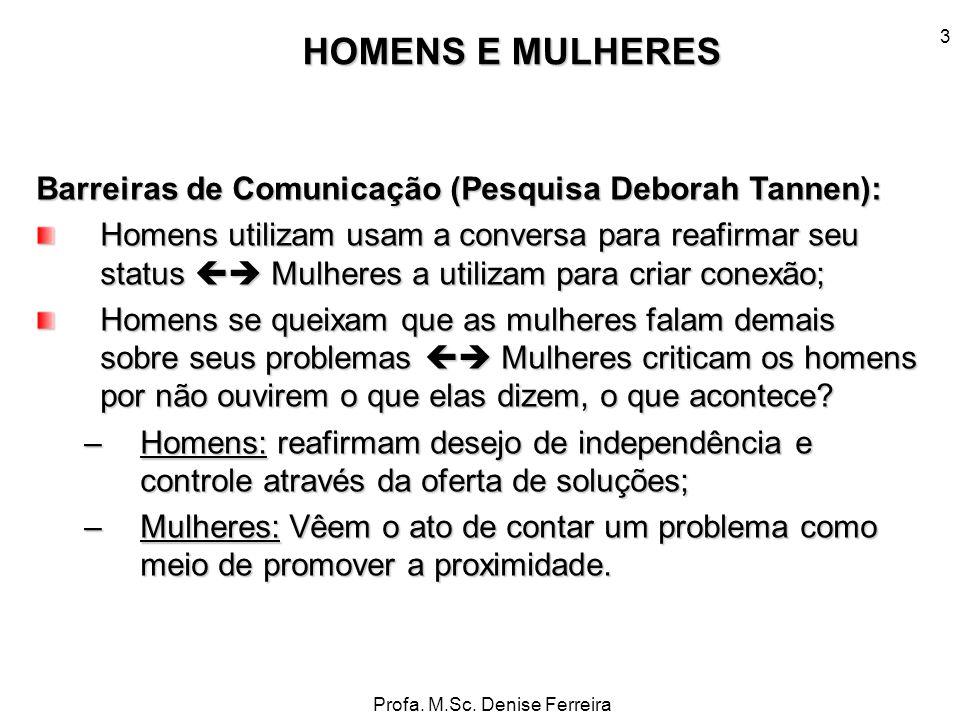 HOMENS E MULHERES Barreiras de Comunicação (Pesquisa Deborah Tannen):