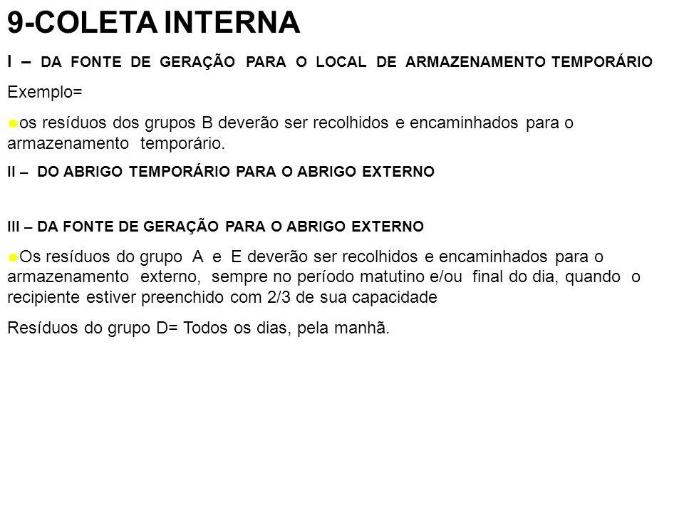 9-COLETA INTERNA I – DA FONTE DE GERAÇÃO PARA O LOCAL DE ARMAZENAMENTO TEMPORÁRIO. Exemplo=