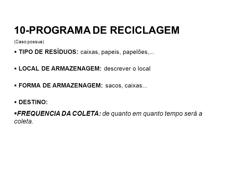 10-PROGRAMA DE RECICLAGEM