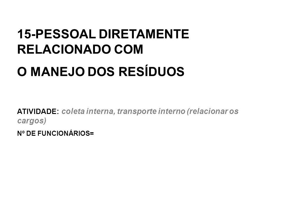 15-PESSOAL DIRETAMENTE RELACIONADO COM O MANEJO DOS RESÍDUOS